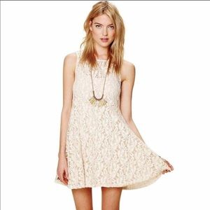 Like New FP Ivory Miles of Lace Fit Flare Dress